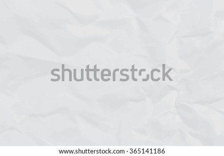 white crumpled paper background or texture, vector - stock vector