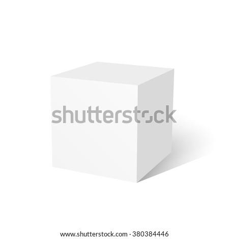 White cube. 3D cube. White box. 3D vector. Realistic vector. Vector illustration. - stock vector