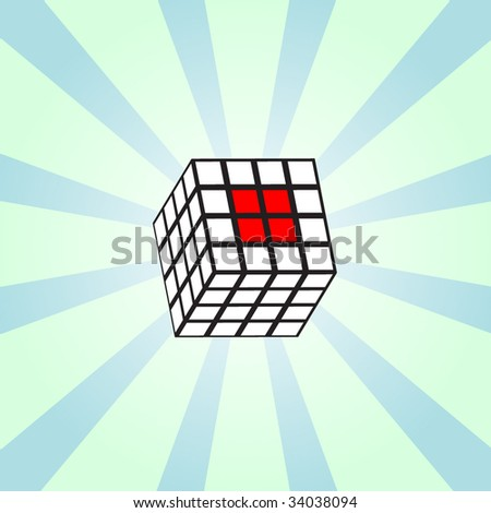 White cube on shining background. vector - stock vector