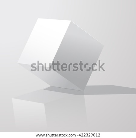 White cube with shadows, isolated on white background. Cube turned onto their side. Gypsum geometrical figure.  Template white. vector illustration. Vector Art - stock vector