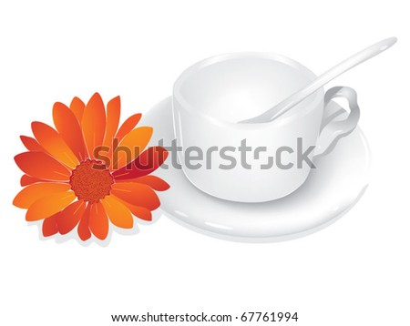 White cup and red flower - stock vector