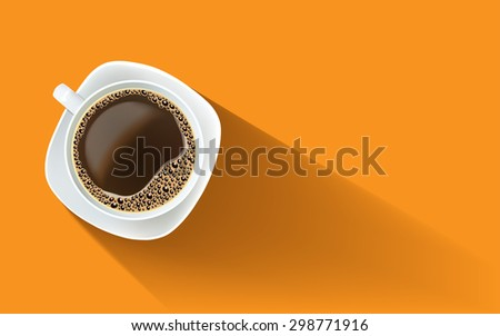 White cup of black coffee with foam and bubbles on a white plate. Realistic vector illustration.  View from above. Poster, illustration, greeting card, invitation, cafe, restaurant menu, print.  - stock vector