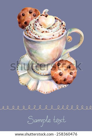 White cup of cappuccino with chocolate and chocolate cookies. Vector cup of cappuccino. Beautiful card painted watercolor. - stock vector
