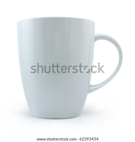 White cup on a white background - stock vector