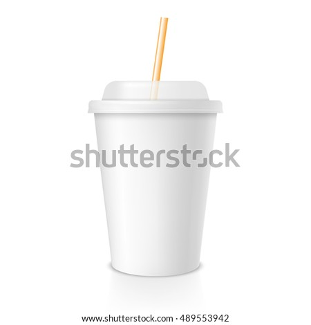 White cup template for soda or cold beverage with yellow drinking straw, isolated on white background. Packaging collection. Vector illustration.