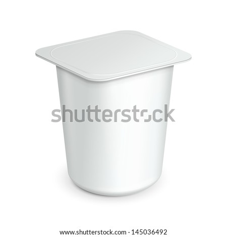 White Cup Tub Food Plastic Container For Dessert, Yogurt, Ice Cream, Sour Sream Or Snack. Ready For Your Design. Product Packing Vector EPS10 - stock vector