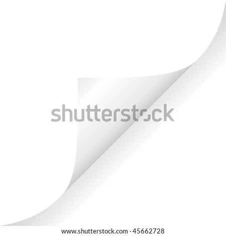 White curled glossy paper corner - stock vector