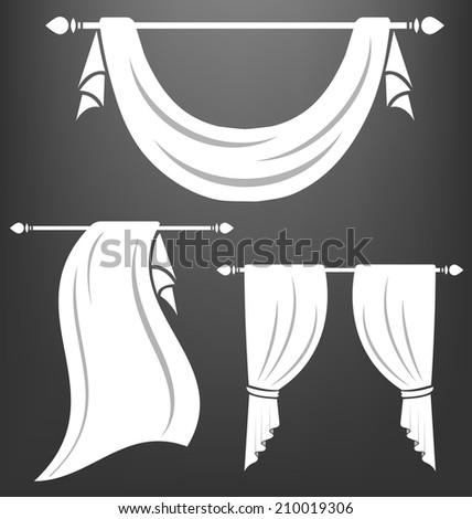 White curtain vintage vector set - stock vector