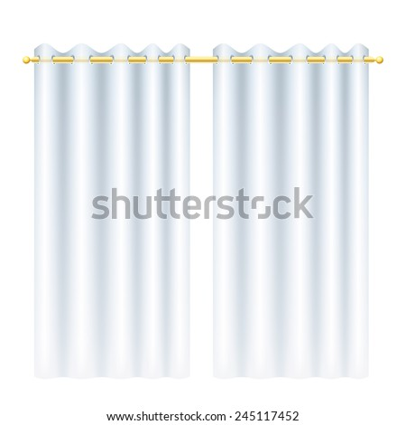 white curtains with blinds on golden drapery rod