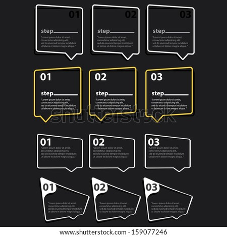 white cut paper Design template on black background / can be used for infographics / numbered banners / horizontal cutout lines / graphic or website layout vector / brochure or cover design - stock vector
