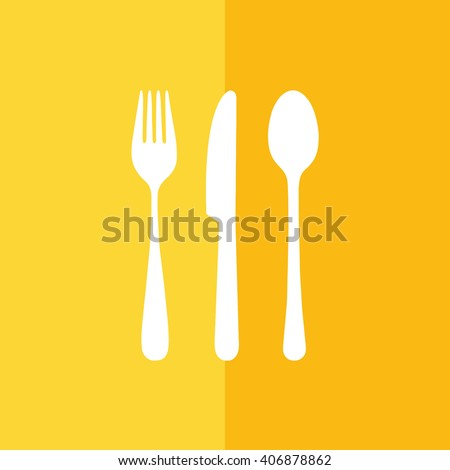 White cutlery set vector illustration. Yellow background - stock vector
