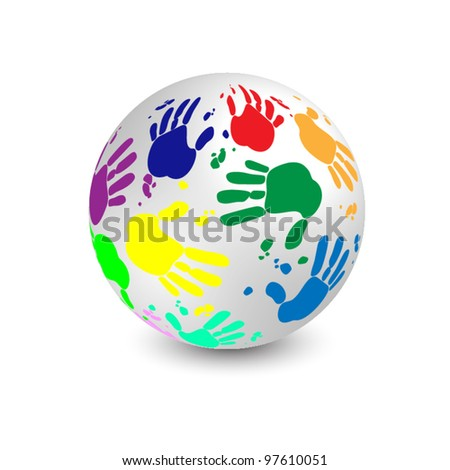White 3d ball vector illustration decorated by multicolored hand prints on white background (isolated) - stock vector