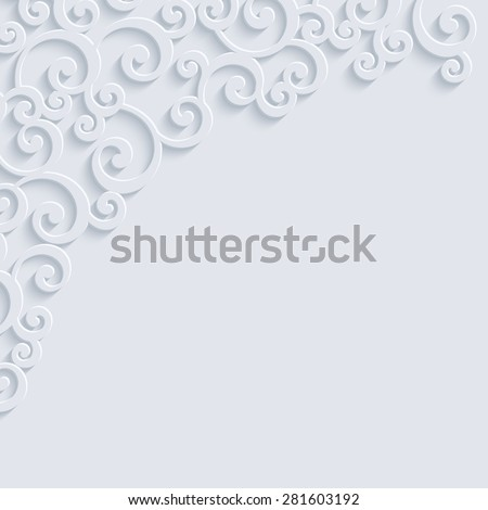 White 3d Floral Swirl Background with Curl Pattern for Wedding or Invitation Card. Vector Abstract Vintage Design - stock vector