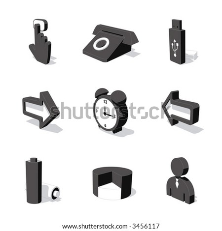 white 3D icon set 03 - stock vector