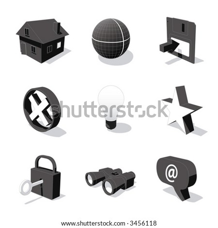 white 3D icon set 01 - stock vector