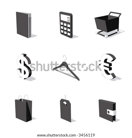 white 3D icon set 06 - stock vector
