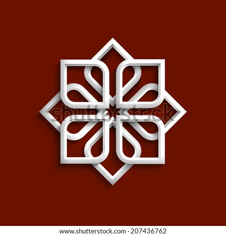 White 3d ornament in arabic style. Vector illustration - stock vector