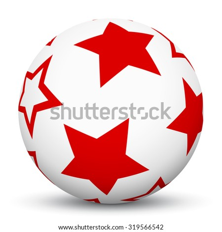 White 3D Sphere with Mapped Red Star Texture on White Background and Smooth Shadow. Holiday Season - Christmas Symbol, Decoration, Decor, Icon. - stock vector