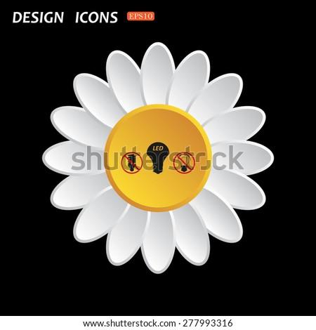 White daisy flower. Flat design style. fluorescent lamp, LED lamp, incandescent bulb . icon. vector design - stock vector