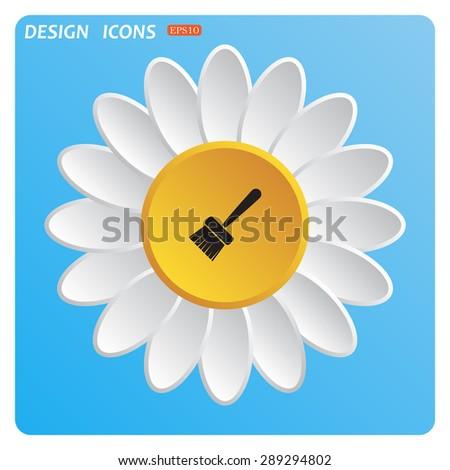 White daisy on a blue background. Flower. Sky. - stock vector