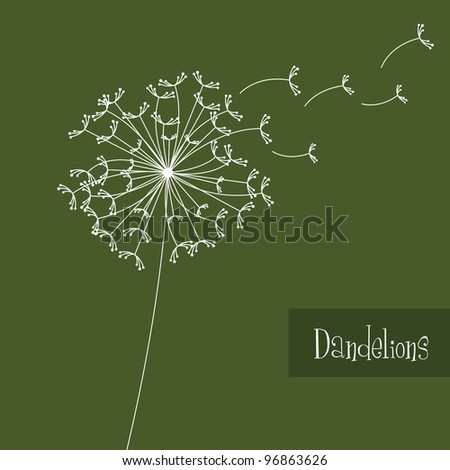 white dandelions over green background. vector illustration - stock vector