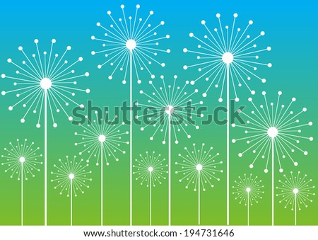 white dandelions silhouettes isolated on bright color background - stock vector