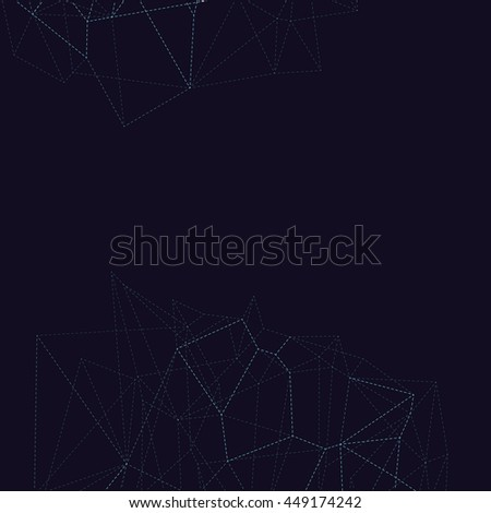 White dashed background with connecting dots and lines. Light connection structure. Polygonal vector background. Futuristic abstract triangles low poly.