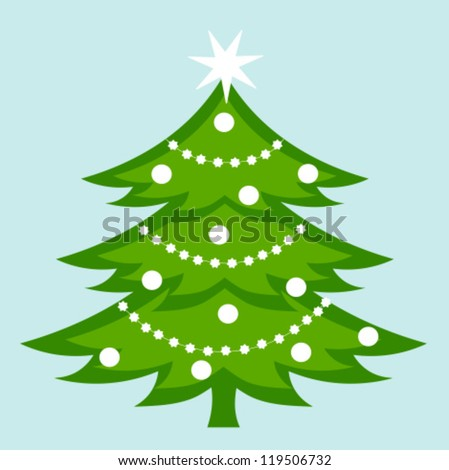 White decorated Christmas tree. Vector illustration - stock vector
