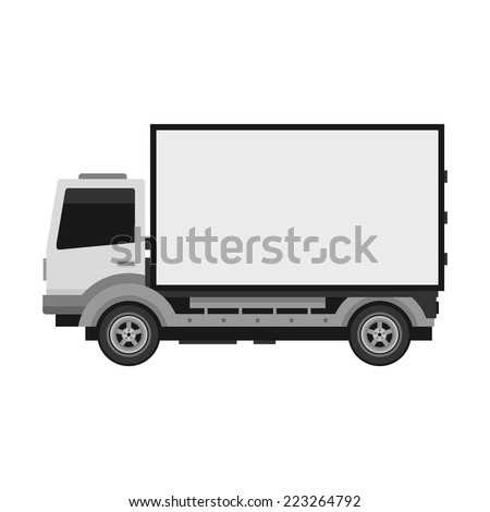 White delivery truck with blank mobile billboard template isolated on white background. Vector illustration - stock vector