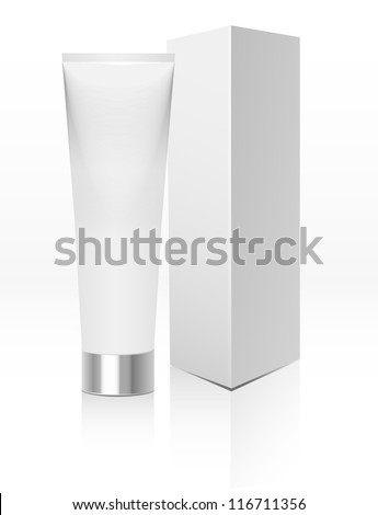 White dentifrice, toothpaste, cream with box, package, blank, tube - stock vector