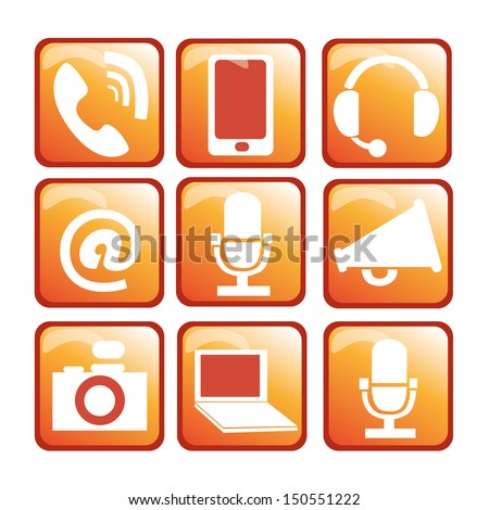 White Devices in Orange boxes with borders - stock vector