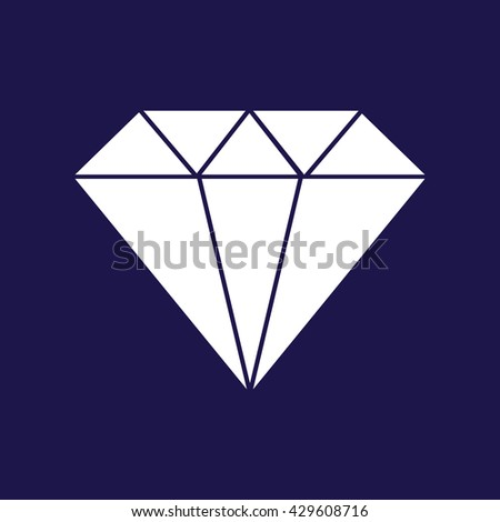 White diamond icon vector illustration. Blue background