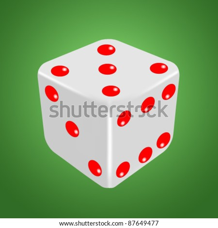White dice isolated on the green
