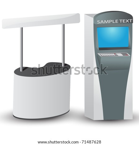 White display and ATM with place for text. Vector illustration. - stock vector
