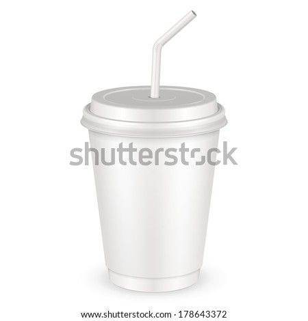 White Disposable Paper Cup With Lid And Straw. Container For Coffee, Java, Tea, Cappuccino, Dessert, Yogurt, Ice Cream, Sour Sream Or Snack. Ready For Your Design. Product Packing Vector EPS10 - stock vector
