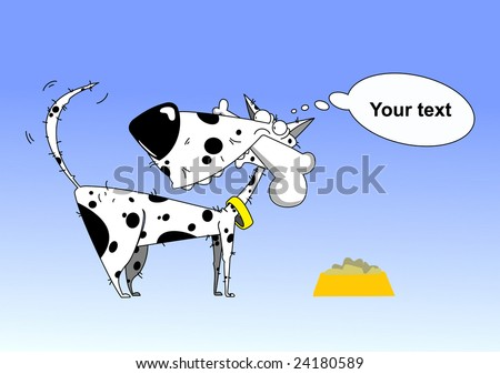 white dog on blue background - stock vector