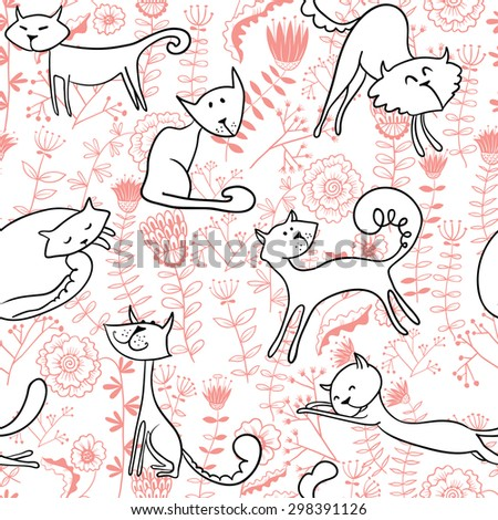White doodle cats and florals seamless pattern - stock vector