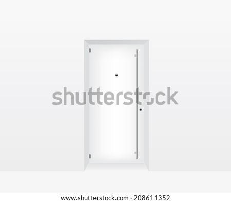 White door illustration - stock vector