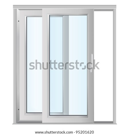 White doors with glass panels - stock vector