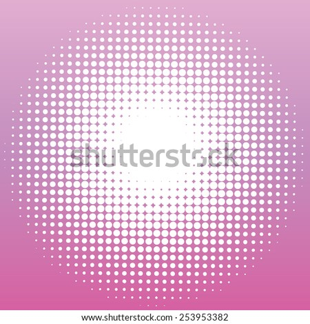white dots in a circle on a purple background - stock vector