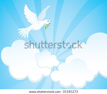 White dove with a green twig in the cloudy sky. Vector illustration. - stock vector