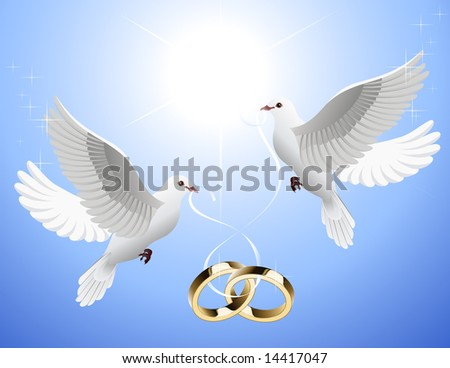 White doves holding wedding rings, vector illustration, EPS file included - stock vector