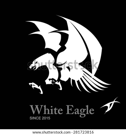 White eagle, Hawk, Falcon. Artistic Flying Eagle, spread out its feather and claw. - stock vector