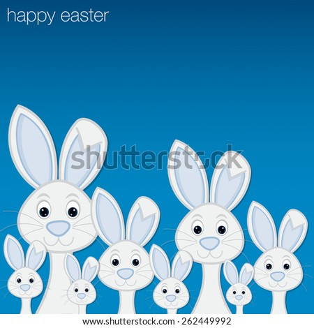 White Easter bunny card in vector format. - stock vector