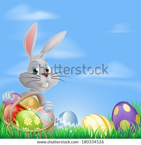 White Easter bunny rabbit with a basket of chocolate Easter eggs - stock vector