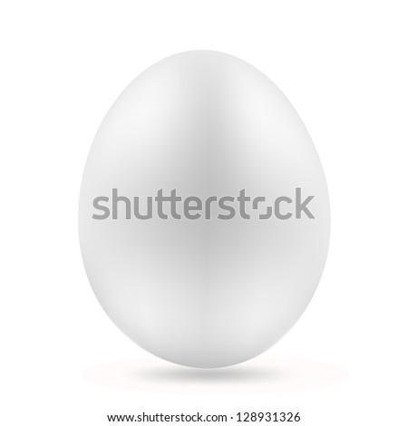 white egg on white - stock vector