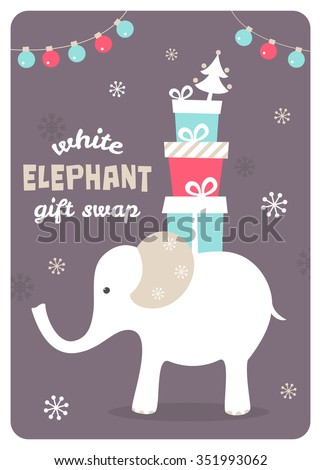 White elephant gift exchange illustration stock vector 351993062 white elephant gift exchange illustration negle Choice Image