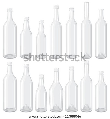 White 14 empty glass bottle set, each in separated layers. - stock vector
