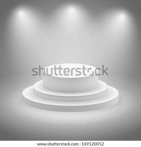 White empty illuminated stage vector illustration - stock vector