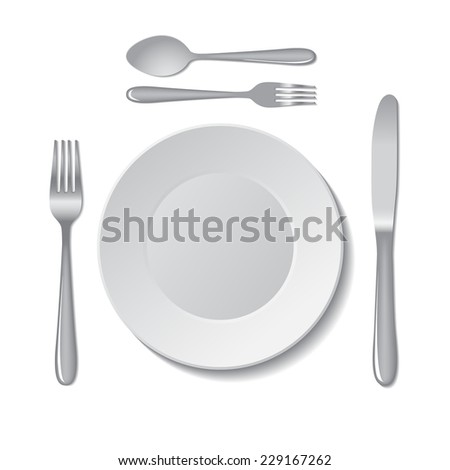 White empty plate with fork, spoon and knife on a white background. Vector illustration.